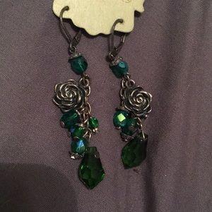 NEW Green Dangle Rose Earrings
